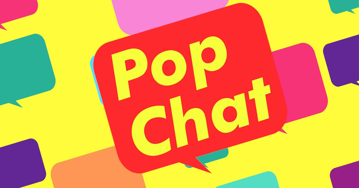 Pop Chat logo over a colourful background