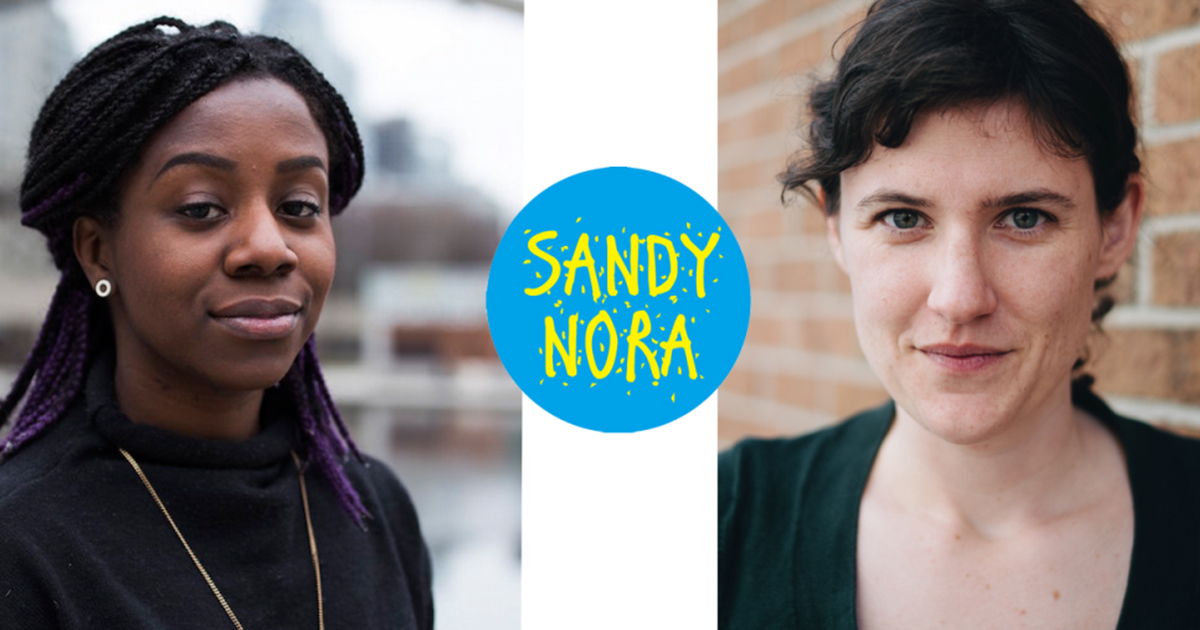 Headshots of Sandy Hudson & Nora Loreto, wiht their podcast logo in blue and yellow.